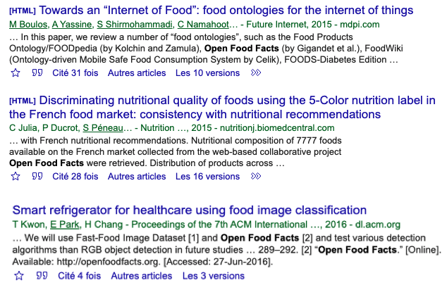 Articles citing Open Food Facts on Google Scholar