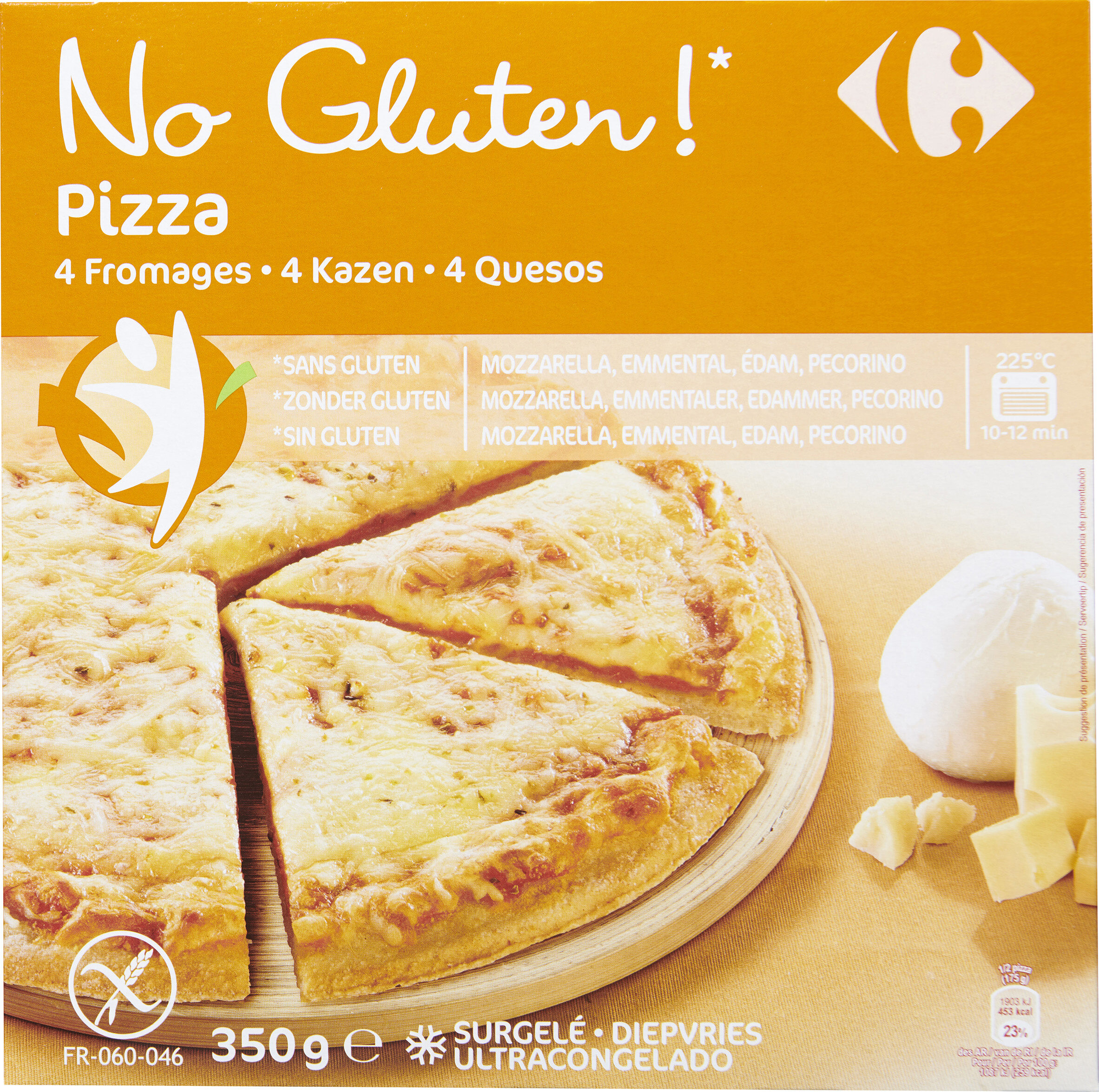Pizza 4 fromages Sans gluten - Carrefour - 350 g